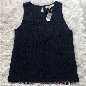 LOFT NWT navy blue crochet tank w/keyhole back 💙